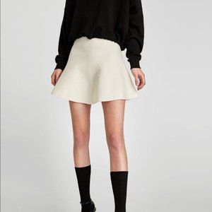 NWT Zara High Waisted Knit Fur Trim Skater Skirt